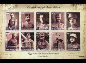Ungarn Hungary 2018 Block 420 Helden des Ersten Weltkrieges 1914-18 Soldaten