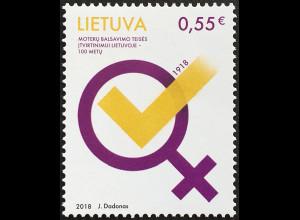 Litauen Lithuania 2018 Nr 1296 100 Jahre Frauenwahlrecht