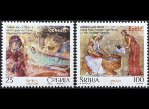 Serbien Serbia 2018 Nr. 820-21 Weihnachten Gemälde Natale Christmas Kirchenfest