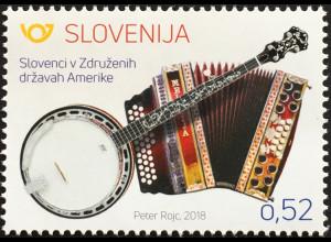 Slowenien Slovenia 2018 Neuheit Musikinstrumente Harmonika Banjo Musizieren