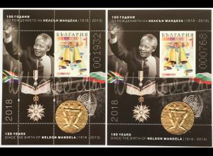 Bulgarien 2018 Block 466 A und C 100. Geburtstag von Nelson Mandela