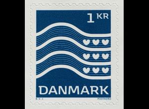Dänemark 2019 Neuheit Freimarkenserie Welle Blau