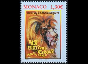 Monako Monaco 2019 Neuheit 43. Zirkusfestival Löwe Artisten Dressuren