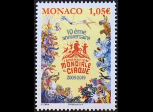 Monako Monaco 2019 Neuheit Weltzirkusverband Artisten Tierdressuren Clowns
