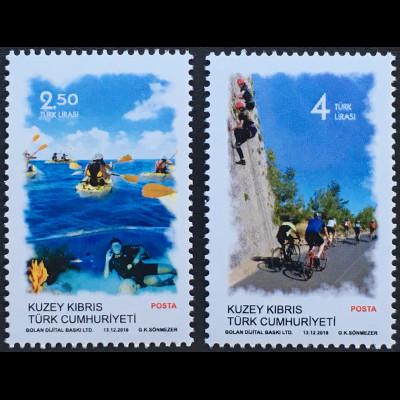 Zypern türkisch Cyprus Turkish 2018 Nr. 857-58 Sport Radfahren Rudern Tourismus
