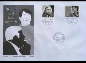 Bund BRD Ersttagsbrief FDC Nr 3429 und 3448 aus Block 83 Helmut und Loki Schmidt
