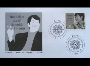 Bund BRD Ersttagsbrief FDC Nr 3448 1. März 2019 Geburtstag von Loki Schmidt