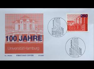 Bund BRD Ersttagsbrief FDC Nr 3449 1 März 2019 100 Jahre Universität Hamburg
