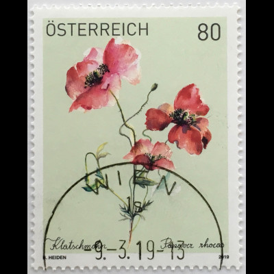 Österreich 2019 Nr. 3451 Blumen Flora Klatschmohn Blumenmotiv Gemälde