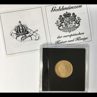 Schweden 1 Carolin - 10 Francs Münze in Gold Jahrgang 1868 Karl XV.