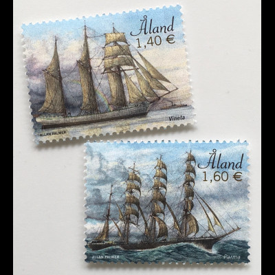 Aland 2019 Nr. 466-67 Segelschiff Vineta und Parma Schiffsverkehr Schiffsmotiv