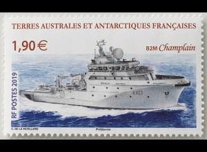 Franz. Antarktis TAAF 2019 Nr. 1041 Schiff B2M Champlain Schiffsverkehr Frachter