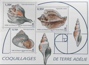 Franz. Antarktis TAAF 2019 Block 69 Schalentiere Mollusken Muscheln Schnecken