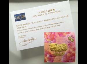Hongkong 2019 Block 347 Lunarserie Chin. Horoskope Jahr des Schweins mit Seide