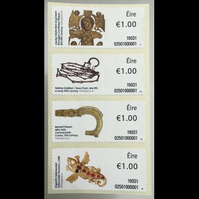 Irland 2019 ATM 109-112 Freimarken Objekte Teil III Rinnagan Kunstgegenstände