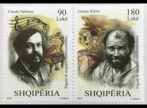Albanien 2018 Nr. 3581-82 Berühmte Künstler Gustav Klimt Maler Claude Debussy