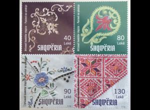 Albanien 2018 Nr. 3592-95 Albanisches Kunstwerk Stickereien Handarbeit Muster