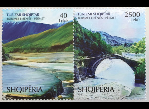 Albanien 2018 Nr. 3590-91 Tourismus Natur Küstenlandschaft Brücke Reiseziel