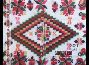 Albanien 2018 Block 201 Stickereien Handwerk Kunst Handarbeit Stickmuster