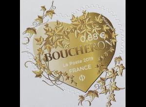 Frankreich France 2019 Neuheit Herzen Boucheron Briefmarke Herzform mit Efeu