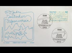 Bund BRD Ersttagsbrief FDC Nr 3456 4. April 2019 150 Jahre deutscher Alpenverein