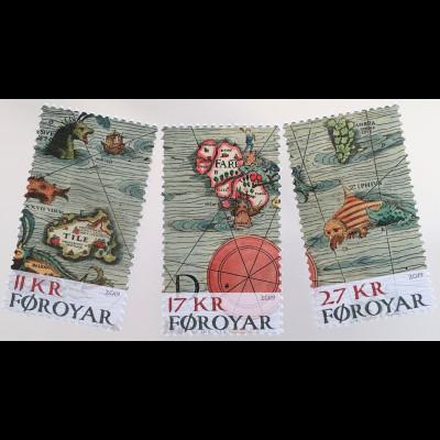 Dänemark Färöer 2019 Nr. 943-45 Die Faröer auf historischen Karten Landkarten