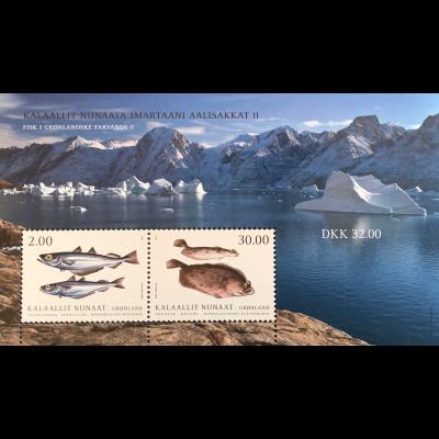 Grönland 2019 Block 91 Fische Natur Eismeer Meeresbewohner Fischmotiv Heilbutt