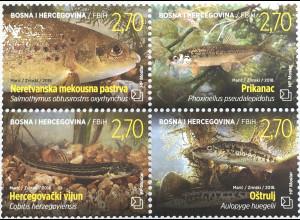 Bosnien Herzegowina Kroatische Post Mostar 2018 Neuheit Fische Fauna Lachs