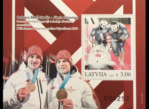 Lettland Latvia 2018 Block 45 Medaillengewinn bei den Olympischen Winterspielen