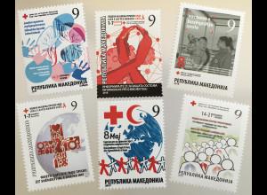 Makedonien Macedonia 2018/2017 Neuheit Zwangszuschlagsmarken Rotes Kreuz TBC