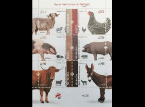 Portugal 2019 Block 440 Nutztierrassen Tiere Fauna Ziegen Esel Schwein Rind