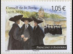 Andorra französisch 2019 Nr. 847 600 Jahre Consell de la Terra Politk Soziales