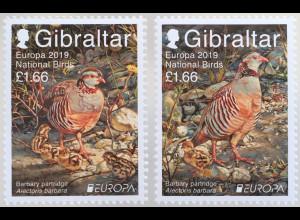 Gibraltar 2019 Neuheit Europamarken Einheimische Vogelarten Fasane Tiere Vögel