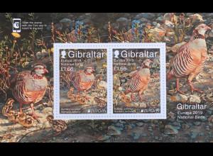 Gibraltar 2019 Neuheit Europamarken Einheimische Vogelarten Fasane Tiere Block