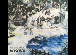 Kosovo 2019 Block 49 Nationalpark Blinaja Aquarellmalerei Hirsche Rehe Fütterung