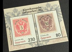 Österreich 2019 Block 105 Freimarken 1883 historische Blockausgabe Philatelie