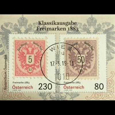 Österreich 2019 Block105 Freimarken 1883 historische Blockausgabe Philatelie