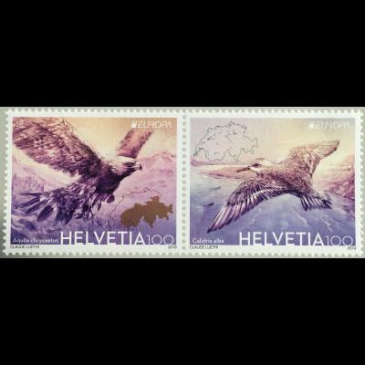 Schweiz 2019 Nr 2600-01 Europaausgabe Heimische Vögel Steinadler und Sanderling