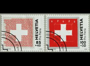 Schweiz 2019 Nr. 2598-99 Pro Patria Schweizer Fahne Freistehendes weisses Kreuz