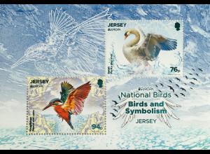 Jersey 2019 Neuheit Europamarken Vögel Tiere Fauna Ornithologie Lackfolie Block