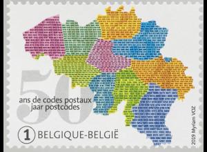 Belgien 2019 Neuheit 50 Jahre Postleitzahlen Postverkehr Briefbeförderung