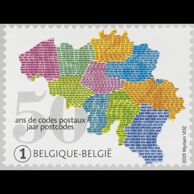 Belgien 2019 Nr. 4904 50 Jahre Postleitzahlen Postverkehr Briefbeförderung