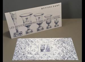 Frankreich France 2019 Block 430 Kunsthandwerk Kristallschleiferei Bleikristall
