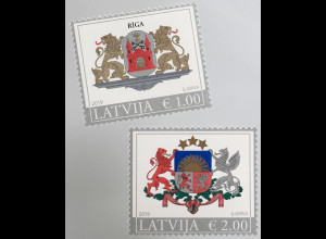 Lettland Latvia 2019 Neuheit Wappen Riga Freimarkenserie