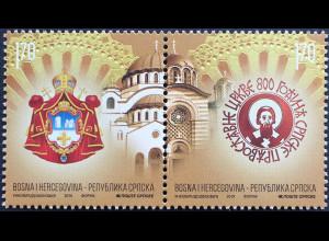 Bosnien Herzegowina Serbische Republik 2019 Neuheit 800 Jahre orthodoxe Kirche