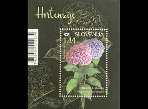 Slowenien Slovenia 2019 Block 115 Hortensien Blumen Flora Ziersträucher Garten