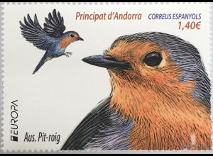 Andorra spanisch 2019 Neuheit Europaausgabe Vögel Australischer Pit Roig