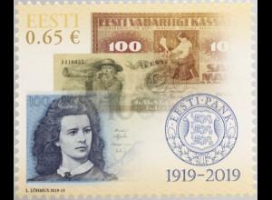 Estland EESTI 2019 Nr. 955 100 Jahre Estnische Zentralbank Zahlungsverkehr