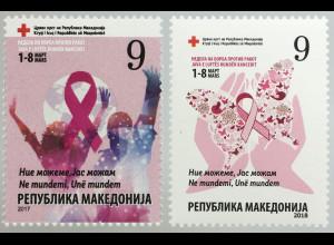 Makedonien Macedonia 2017+2018 Nr. 175+179 Zwangszuschlag Rotes Kreuz Krebs