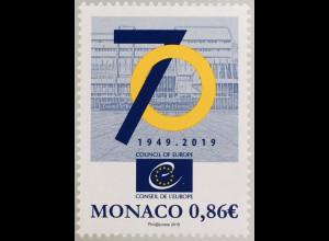 Monako Monaco 2019 Neuheit 70 Jahre Europarat Politik Council of Europe